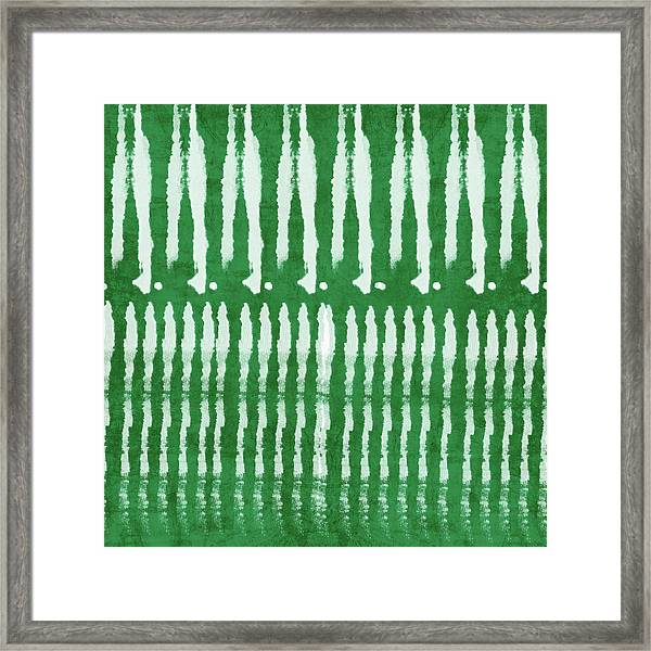 Green Shibori 1- Art By Linda Woods Framed Print