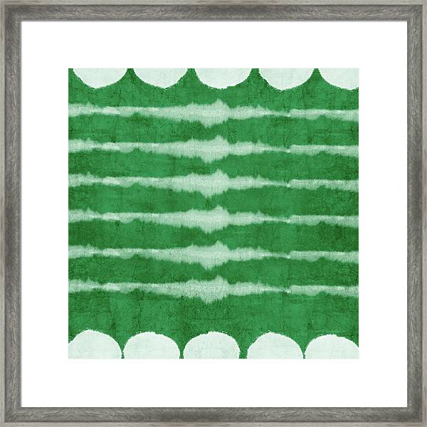 Green Shibori 3- Art By Linda Woods Framed Print