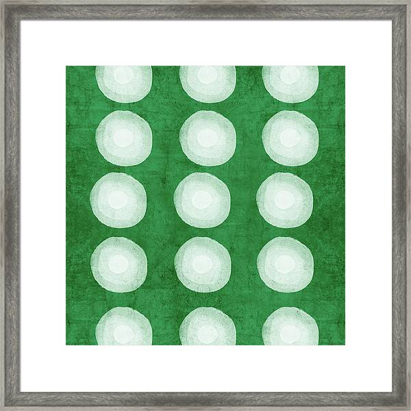 Green Shibori 4- Art By Linda Woods Framed Print
