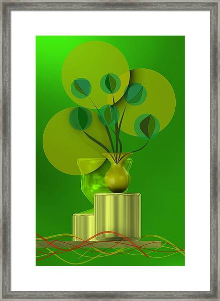 Green Still Life With Abstract Flowers, Framed Print