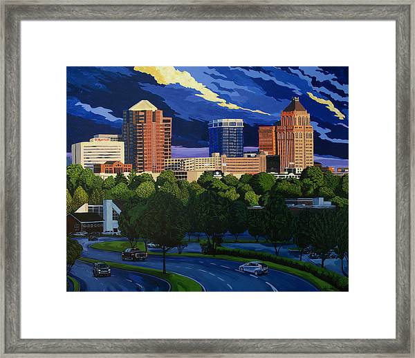 Greensboro Skyline In The Sunshine Framed Print