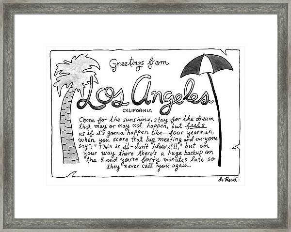 Greetings From Los Angeles Framed Print