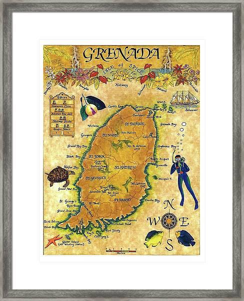 Grenada, Isle Map, Scuba Diving Framed Print