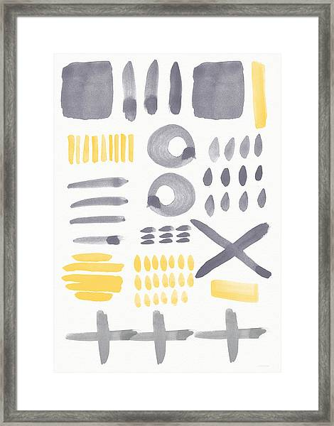 Grey And Yellow Shapes- Abstract Painting Framed Print