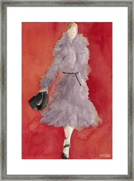 Grey Coat - Watercolor Fashion Illustration Framed Print