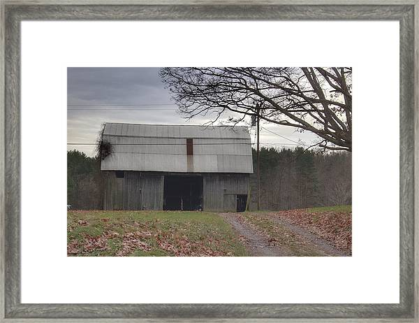 0014 - Grey Horse Barn Framed Print