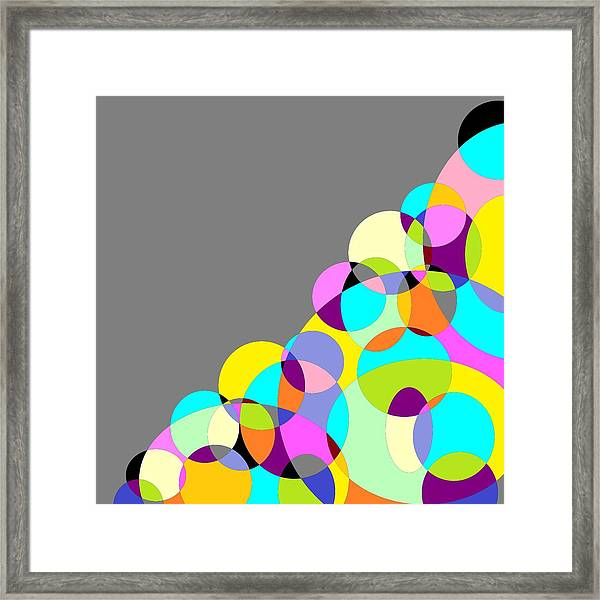 Grey Multicolored Circles Abstract Framed Print