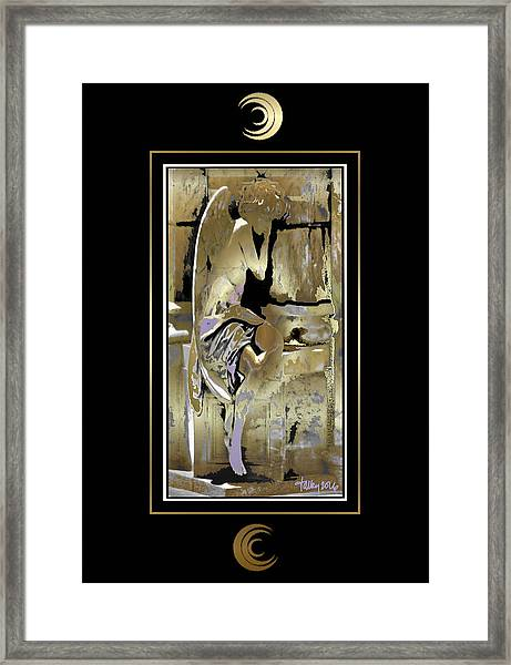 Framed Print featuring the painting Grief Angel - Black Border by Larry Talley