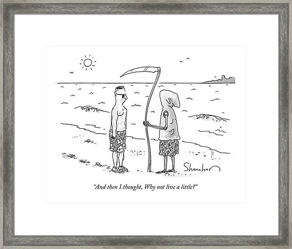 Grim Reaper Wearing A Swimsuit At The Beach. Framed Print