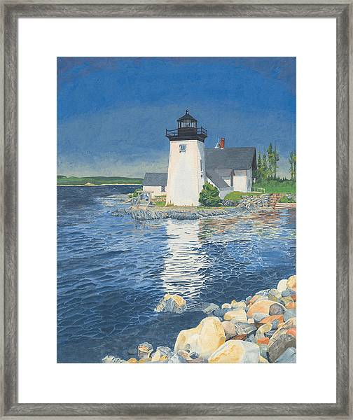 Framed Print featuring the painting Grindle Point Light by Dominic White