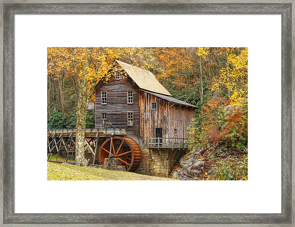 Grist Mill In Autumn Hues Framed Print