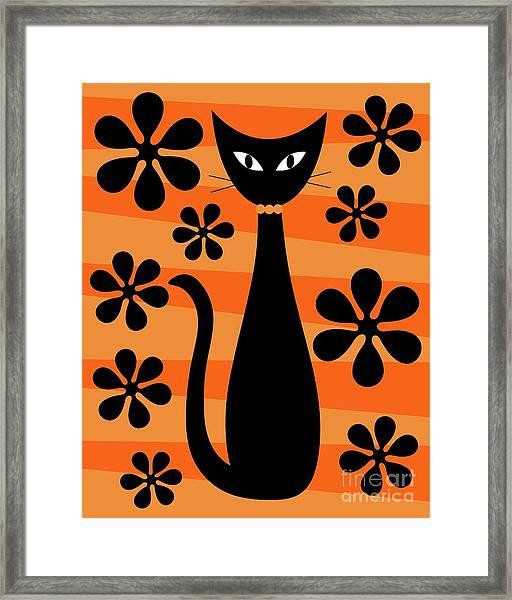 Groovy Flowers With Cat Orange And Light Orange Framed Print