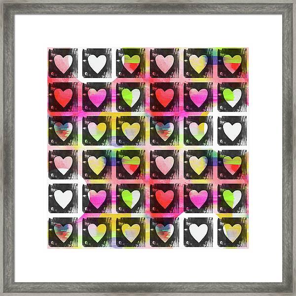 Groovy Hearts- Art By Linda Woods Framed Print