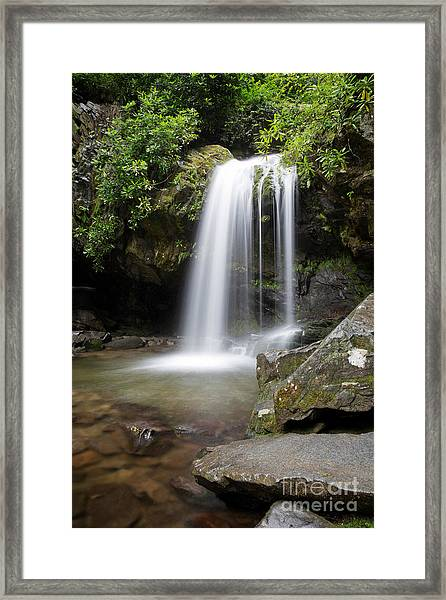 Grotto Falls Vertical Framed Print