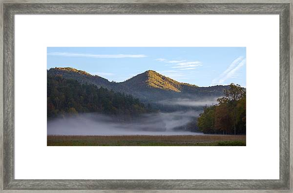 Framed Print featuring the photograph Ground Fog In Cataloochee Valley - October 12 2016 by D K Wall