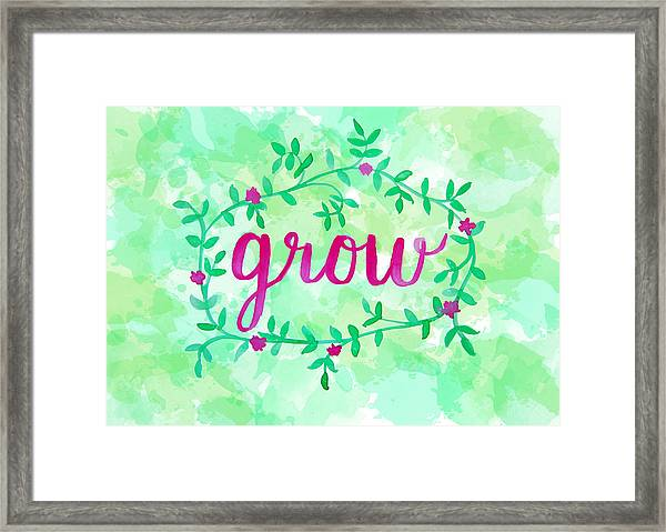 Grow Watercolor Framed Print
