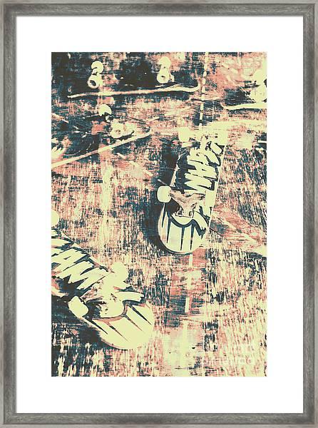 Grunge Skateboard Poster Art Framed Print