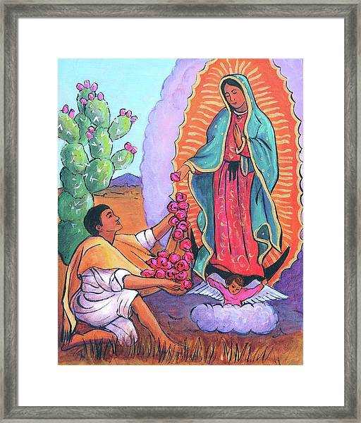 Guadalupe And Juan Diego Framed Print