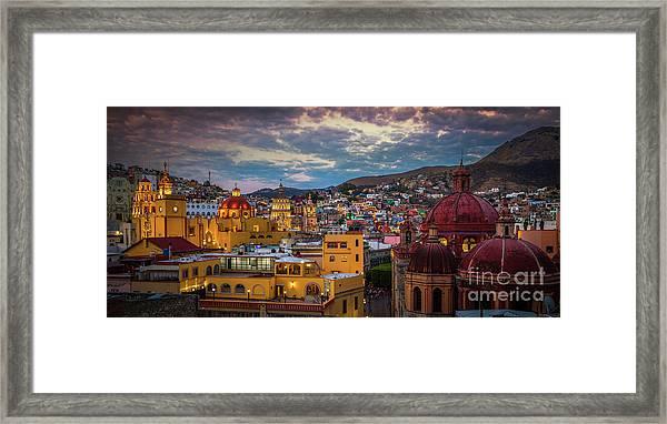 Guanajuato Evening Panorama Framed Print