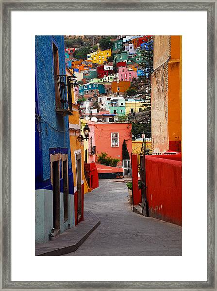 Framed Print featuring the photograph Guanajuato Lane by Skip Hunt