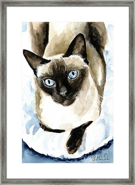 Guardian Angel - Siamese Cat Portrait Framed Print