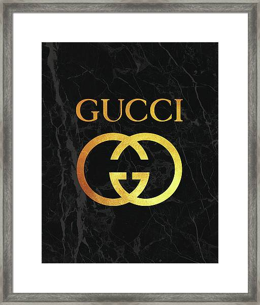 Gucci - Black And Gold - Lifestyle And Fashion Framed Print