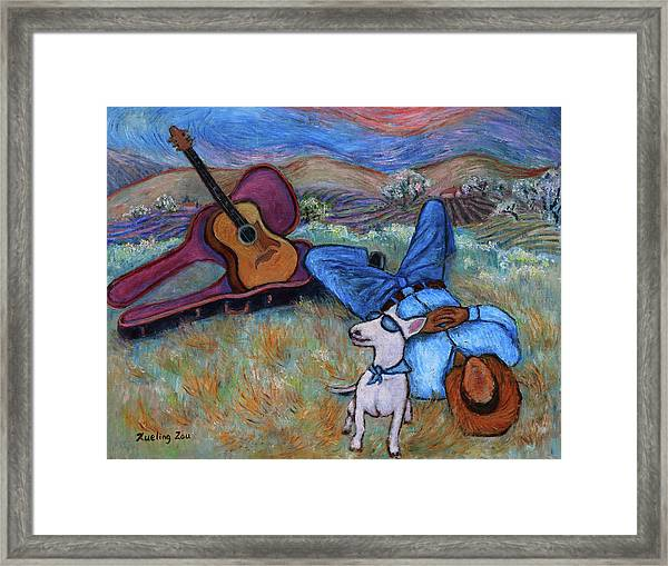 Guitar Doggy And Me In Wine Country Framed Print