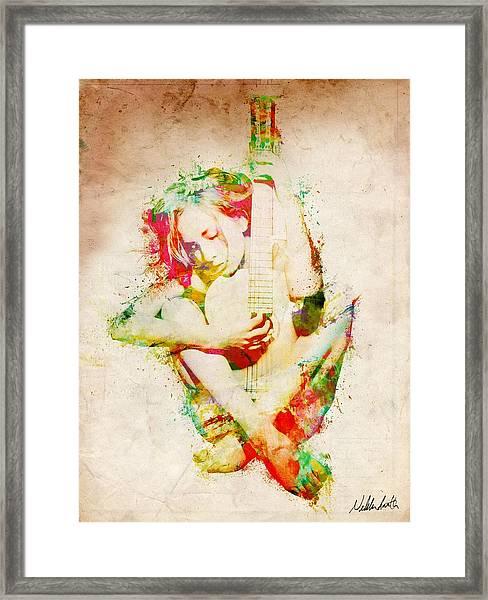 Guitar Lovers Embrace Framed Print