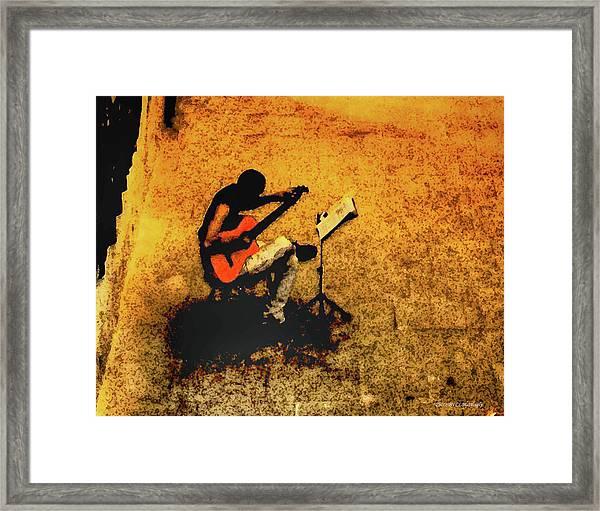 Guitar Player In Arles, France Framed Print