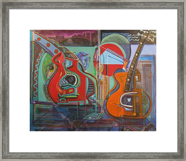 Guitars Mars And The Missing Human Stars Framed Print