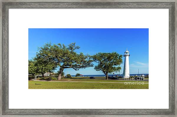 Gulf Coast Lighthouse Seascape Biloxi Ms 3663b Framed Print