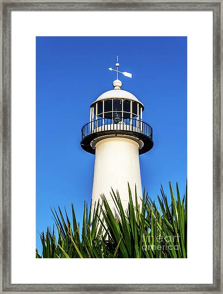 Gulf Coast Lighthouse Seascape Biloxi Ms 3819a Framed Print