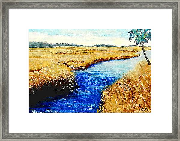 Framed Print featuring the painting Gulf Coast Marsh II Detail Original Fine Art Painting by G Linsenmayer