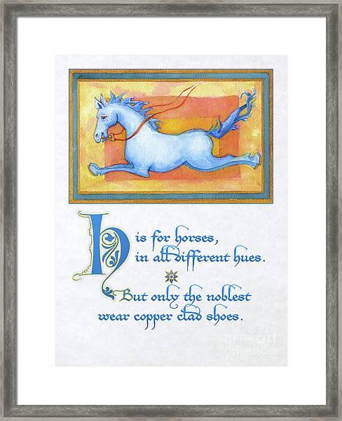 H Is For Horses Framed Print