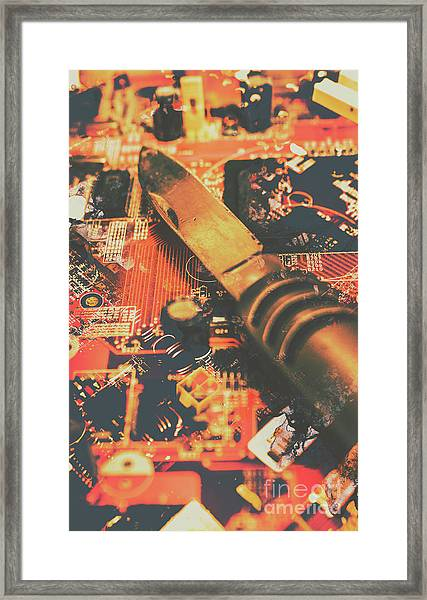 Hacking Knife On Circuit Board Framed Print