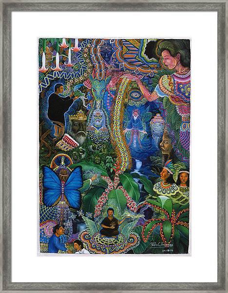 Framed Print featuring the painting Hada De Pero Nuga by Pablo Amaringo