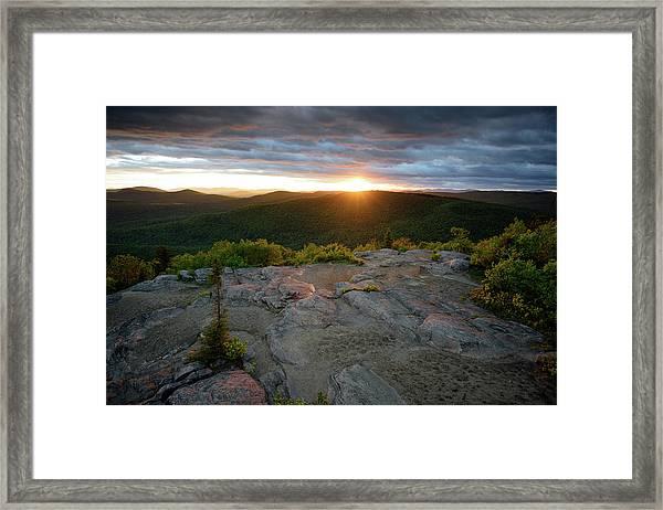 Hadley Mountain Sunset Framed Print
