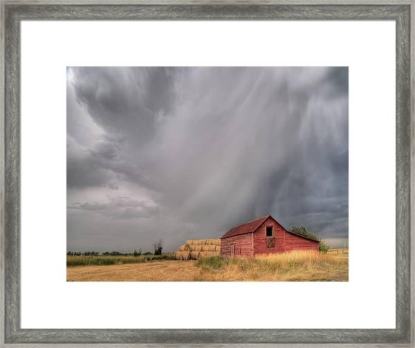 Hail Shaft And Montana Barn Framed Print