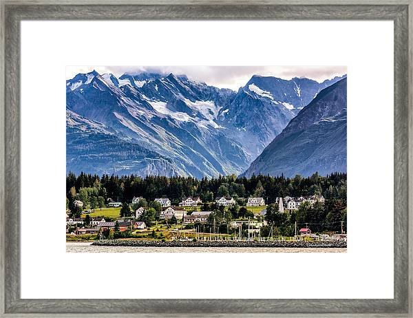 Framed Print featuring the photograph Haines, Alaska Surrounded In Mountains by Claudia Abbott