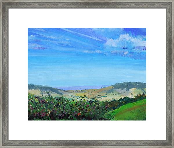 Haldon Hills Sea View Framed Print