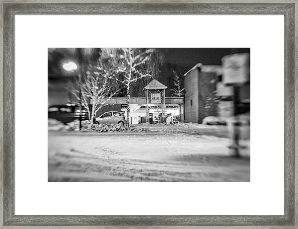 Hale Barns Square In The Snow Framed Print