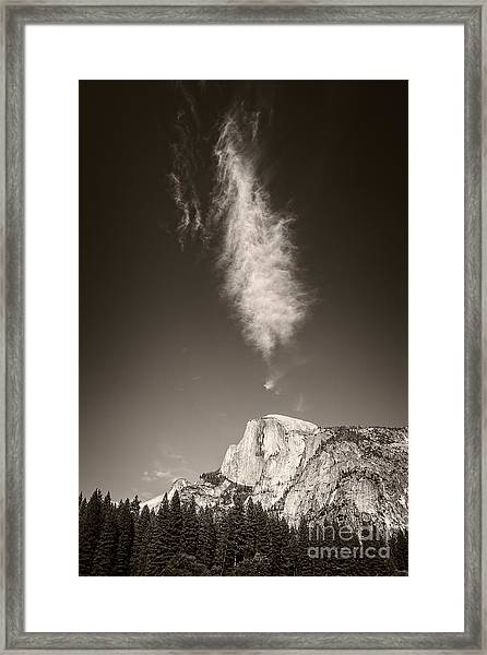 Half Dome And Cloud Framed Print