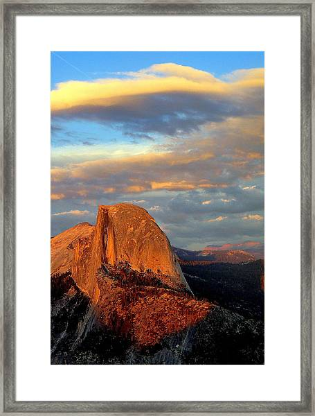 Half Dome Sunset Colorful Clouds Vertical Framed Print