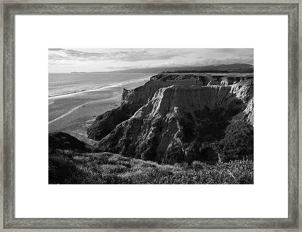 Half Moon Bay II Bw Framed Print
