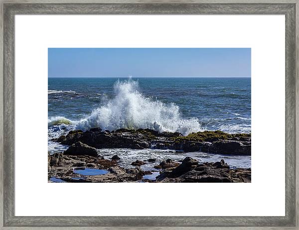 Wave Crashing On California Coast 1 Framed Print