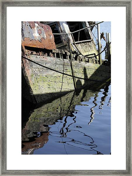 Framed Print featuring the digital art Half Sunk Boat by Bob Slitzan