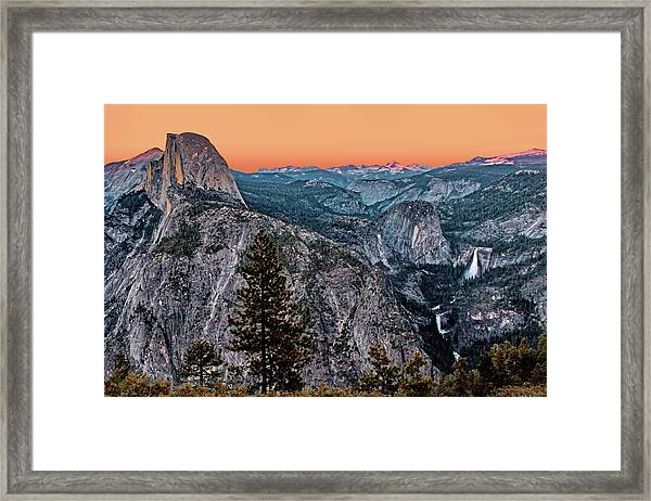 Halfdome And The Waterfalls At Sunset Framed Print by Dan Carmichael