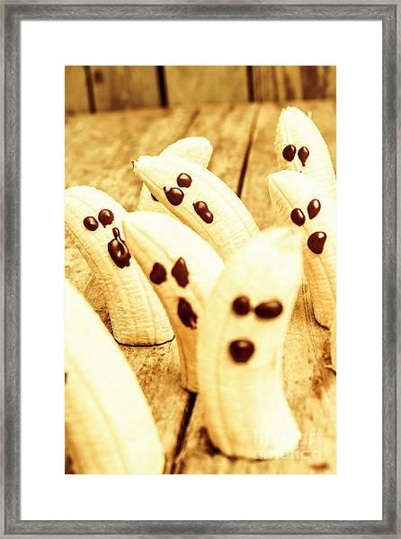 Halloween Banana Ghosts Framed Print