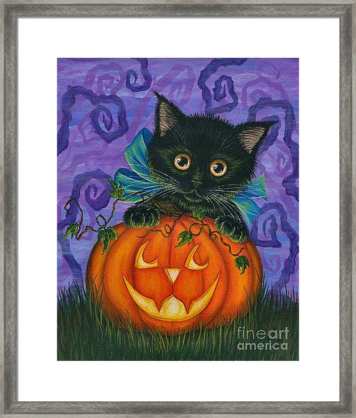 Halloween Black Kitty - Cat And Jackolantern Framed Print