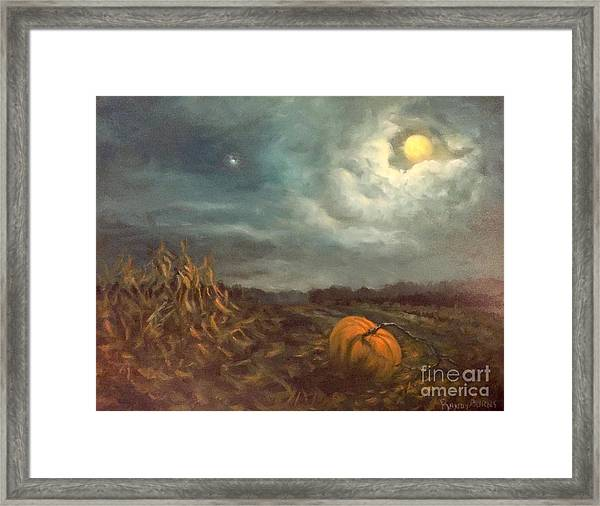 Halloween Mystery Under A Star And The Moon Framed Print